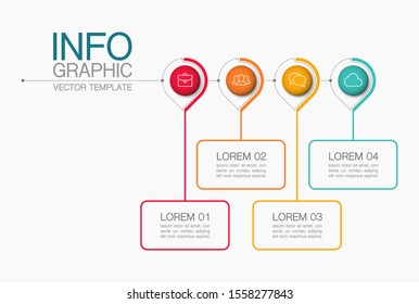 Vector horizontal infographic diagram, template for business, presentations, web design, 4 options.