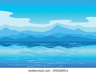 Vector horizontal landscape background with mountains, sea and clouds in a simple modern style.