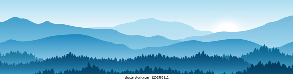 Vector horizontal landscape with fog, forest, mountains and morning sunlight. Illustration of panoramic view, mist and silhouettes mountains. Good for wallpaper, background, banner, cover, poster