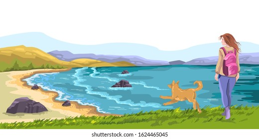 Vector horizontal landscape with ocean, beach, hills, rocks, grass. Young girl walking her dog. Panoramic hand drawn seascape with copy space. For wallpapers, banners, prints.