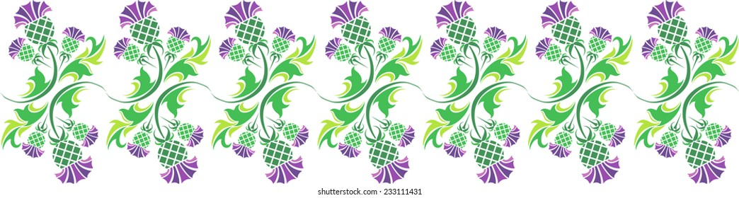 vector horizontal ornament with flowers of thistle
