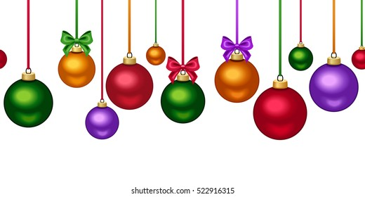 Vector horizontal seamless background with colorful hanging Christmas balls with bows on white.