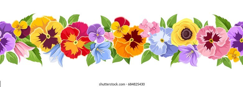 Vector horizontal seamless background with colorful pansy, bluebell and lilac flowers and green leaves.