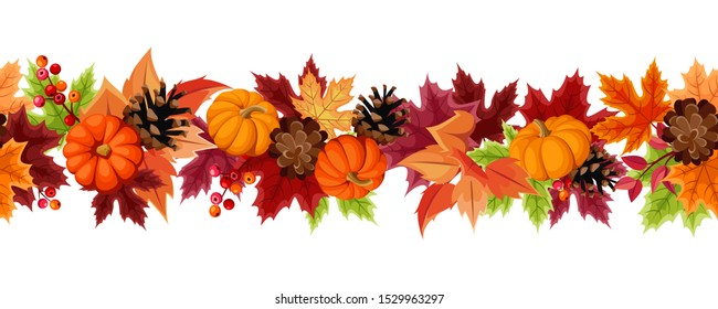 Vector horizontal seamless background with orange pumpkins, pinecones and colorful autumn leaves.