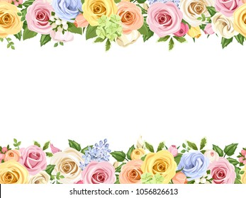Vector horizontal seamless background with pink, blue, white, orange and yellow roses and lisianthus flowers.