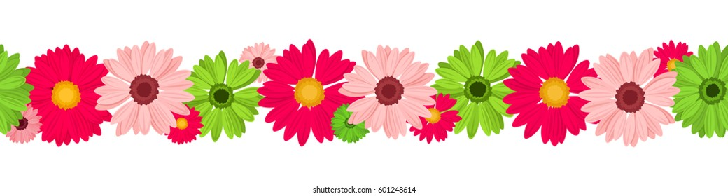 Vector horizontal seamless background with pink and green gerbera flowers.