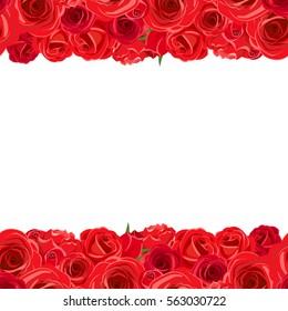 Vector horizontal seamless background with red roses.
