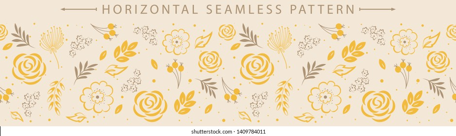 Vector horizontal seamless border with beautiful floral element. Holiday background. Great for wallpaper, backgrounds, packaging, fabric, scrapbooking, and giftwrap projects.