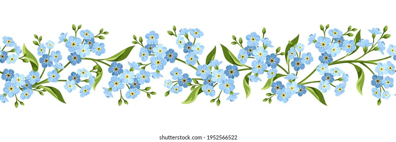 Vector horizontal seamless border with blue forget-me-not flowers on a white background.