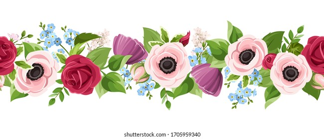 Vector horizontal seamless border with red, pink, purple and blue anemones, roses and forget-me-not flowers on a white background.