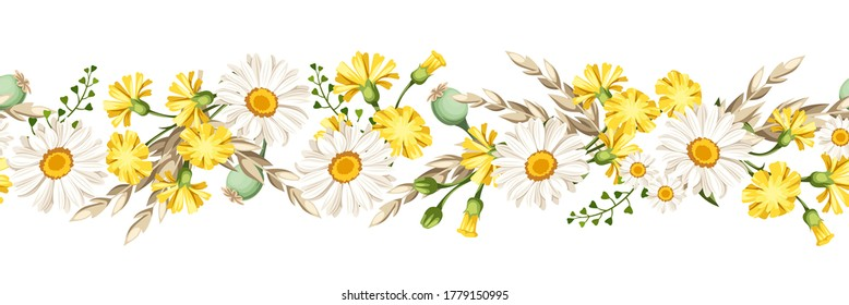 Vector horizontal seamless border with white daisies and yellow wild flowers and ears of wheat.