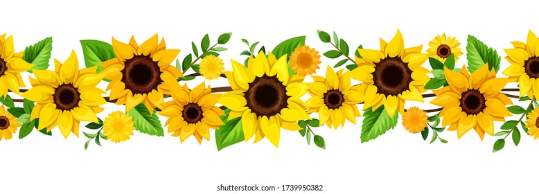 Vector horizontal seamless border with yellow sunflowers and green leaves.