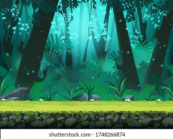 Vector horizontal seamless illustration of background rainforest. For design game, websites and mobile phones, printing, video, interface, design, handout, news-sheet, flyer.