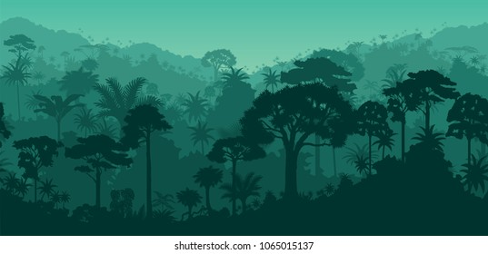 Vector horizontal seamless tropical rainforest Jungle background