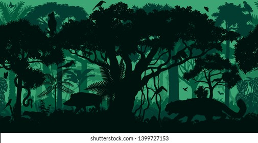 Vector horizontal seamless tropical rainforest Jungle forest background with animals