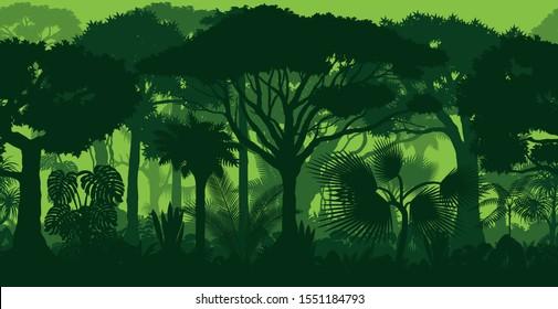 Vector horizontal seamless tropical rainforest Jungle forest background