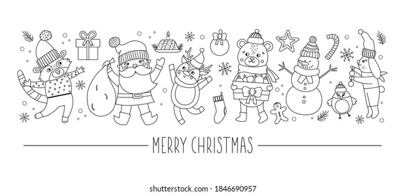 Vector horizontal set with black and white Christmas characters and elements. Card template design with Santa Claus, funny animals, snowman, present. Cute winter or new year line border.
