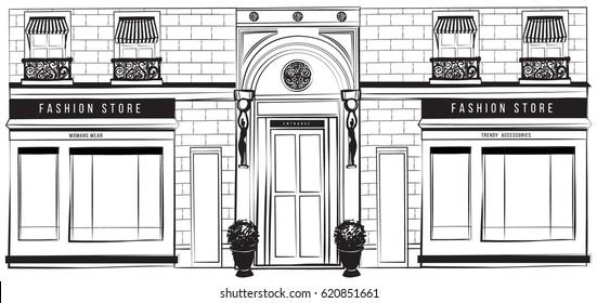 Vector horizontal shopfront detailed graphic web banner fashion illustration. Design vintage boutique facade. Modern shop exterior with arch entrance, balcony, brick wall