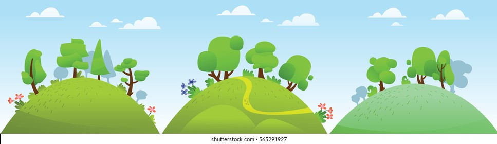 Vector horizontal summer landscape with, forest, hills and trees.