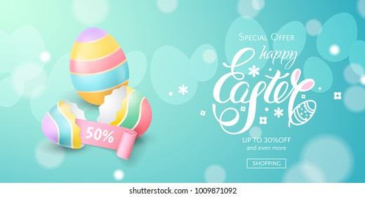 Vector horizontal template for sale banner for Happy Easter with colored eggs, a broken eggshell, bunny ears and a pink ribbon. Holiday blue background for design of flyers with discount offers.