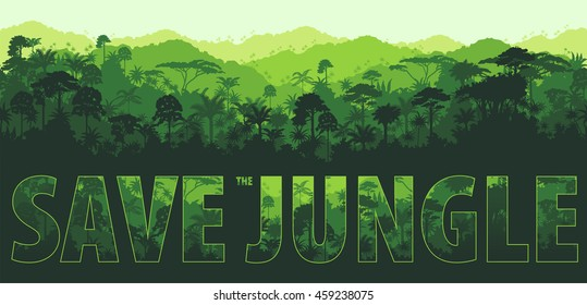 Vector horizontal tropical rainforest Jungle backgrounds