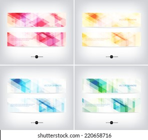 Vector horizontal web banners collection with modern light hi-tech backgrounds