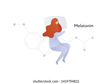Vector hormones flat character banner template. Melatonin structure with sleeping woman on white. Hormone assosiated with sleep disorder. Scientific modern concept. Design for education, presentation.