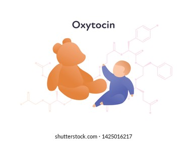 Vector hormones flat character banner template. Oxytocin structure baby and bear toy on white. Hormone assosiated with bonding, care, relationship Design for education, presentation, web, card, poster