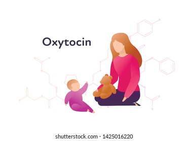 Vector hormones flat character banner template. Oxytocin structure with trendy style female plaing with baby on white. Hormone assosiated with bonding, care, love. Design for education, presentation.