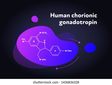 Vector hormones fluid modern banner. HCG structure in liquid gradient trendy shape on black. Hormone associated as pregnancy test indicator. Design for education, presentation, poster.