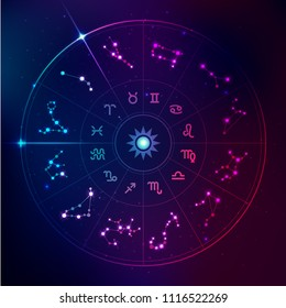 vector of horoscope signs in futuristic technology style, galaxy stars in zodiac
