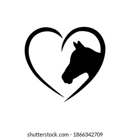 Vector horse black vector head face outline silhouette drawing illustration in heart frame shape on white background .Love horses sign icon.T shirt print.Laser Cut. Plotter Cutting. Vinyl wall sticker