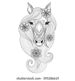 Vector Horse Coloring Page With Face Hand Drawn Patterned Head Flowers