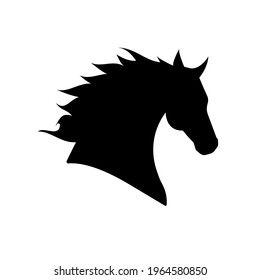 Vector horse head silhouette isolated on white background