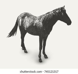 Vector horse illustration. Polygon shaped line- art. Geometrical animal drawing.