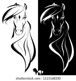 Vector horse logo, black and white horse head sign, symbol, element design.