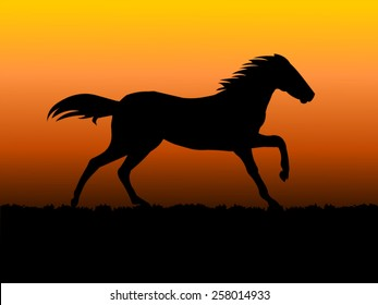 Vector of a Horse running in sunset background