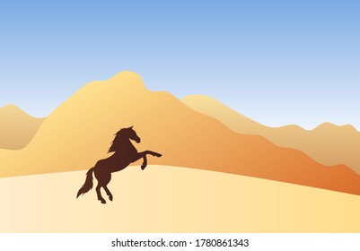 Vector horse silhouette in colored flat landscape with sand and mountains