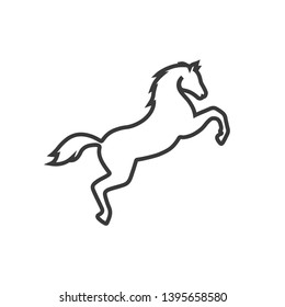vector horse stand line icon