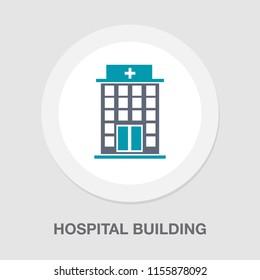vector hospital building illustration - medical care symbol