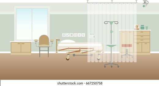 Vector hospital personal medical ward interior empty scene in flat style