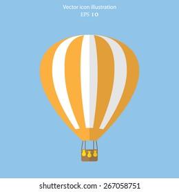 Vector hot air balloon web flat icon. Eps 10.