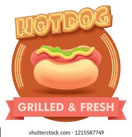 Vector hot dog or hotdog icon with retro neon sign. Illustration or label for fast food restaurant menu