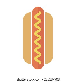 Vector Hot Dog icon in flat style