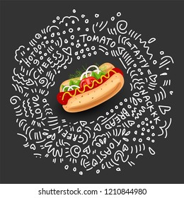 Vector Hot Dog, Isolated Icon on black background. Classic Symbol of Fast Food for Street Lunch. Colorful Appetizing Hot Dog with Sausage, Mustard and Vegetables with doodle decor elements