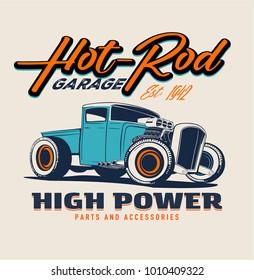 vector hot rod car illustration print