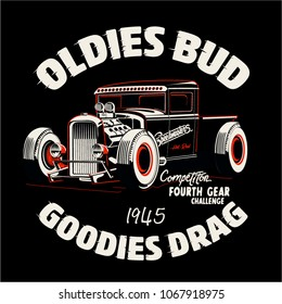 vector hot rod car illustration and shirt print