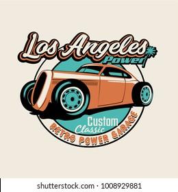 vector hot rod classic car illustration