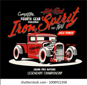 vector hot rod custom car illstration print or poster