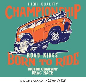 vector hot rod and muscle car race illustration for t shirt print